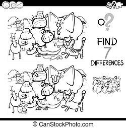 miejscowość, różnica, kolorowanie, zwierzęta, książka