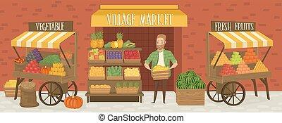 miejscowy, market., rolnik, shopkeeper., gospodarze