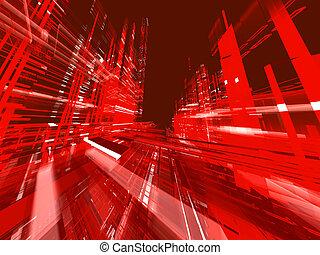 miejski, abstrakcyjny, backgro, świecący, czerwony