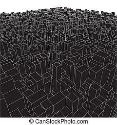 miejski, abstrakcyjny, sześcian, kabiny, miasto