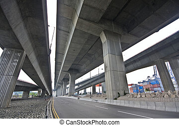 miejski, bridge., scena, pod