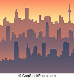miejski, cityscape., rysunek, miasto skyline, wektor, sylwetka