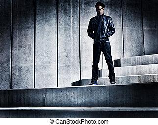 miejski, distopic, konkretny, amerykanka, kroki, afrykański człowiek, chłodny