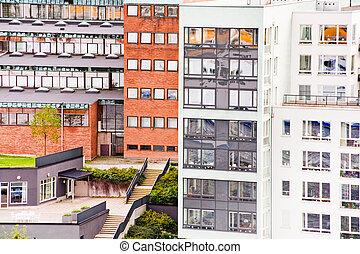 miejski, domy, w, sztokholm