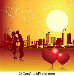 miejski, dzień, scena, para, valentine