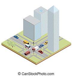 miejski, isometric, ulica, handel
