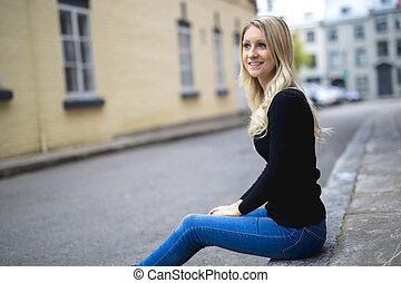 miejski, kobieta, młody, blond