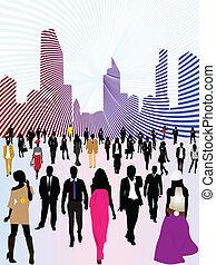miejski, miasto, i, ludzie
