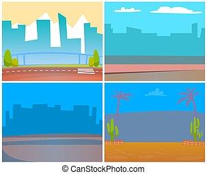 miejski, miasto, terytoria, miasto, cityscapes