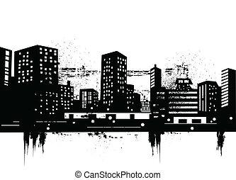miejski, profile na tle nieba