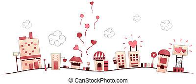 miejski, romantyk, scena