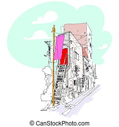 miejski, rys, drut, kwestia, zabudowanie, rozlazły, kolor, słupy, subtelny