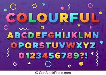 miejski, stary, żywy, kolor, wektor, alphabet., chrzcielnica, barwny, śmiały
