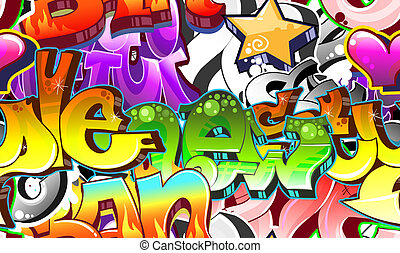 miejski, sztuka, seamless, tło., graffiti, projektować