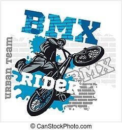 miejski, -, team., wektor, bmx, jeździec, design.