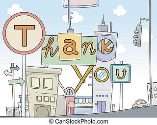 miejski, ty, projektować, dziękować, karta