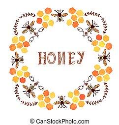 miel, étiquette, vendange, style