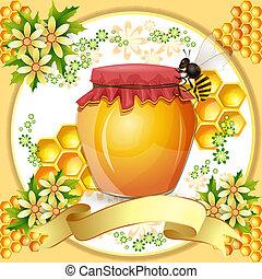 miel, abeilles, pot, fond