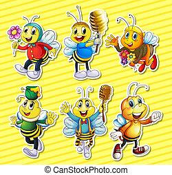 miel, abejas, conjunto