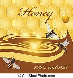 miel, abejas, plano de fondo