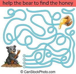 miel, aide, ours, trouver