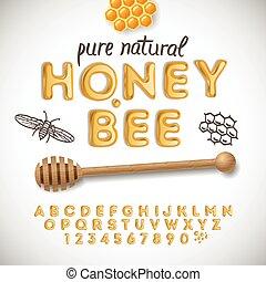 miel, alfabeto, latín, números, hecho