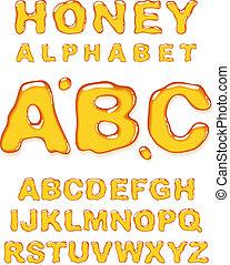 miel, alphabet.