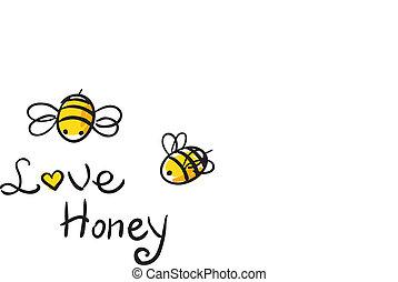 miel, amor, abeja