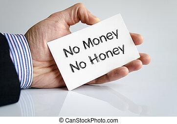 miel, argent, concept, non, texte