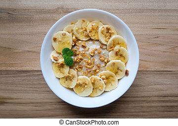miel, banane, fou, séché, flocons avoine