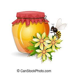miel, blanc, pot, isolé