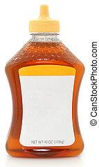 miel, blanco, botella, etiqueta