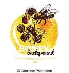 miel, bosquejo, ilustración, mano, acuarela, dibujado,...