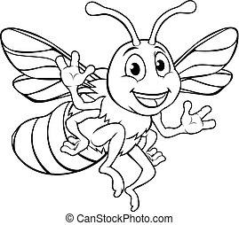 miel, bumble, caractère, dessin animé, abeille