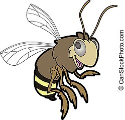 miel, carácter, caricatura, abeja