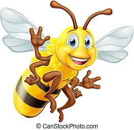 miel, caractère, dessin animé, abeille