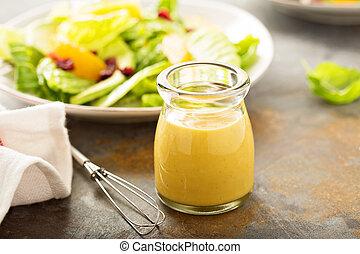 miel, casero, mostaza, preparación de ensalada