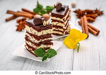 miel, chocolate, natillas, rebanada, pastel