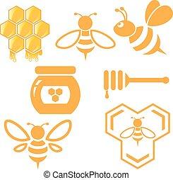 miel, conjunto, abeja