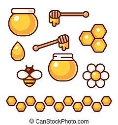 miel, conjunto, icono