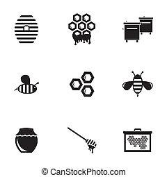 miel, conjunto, negro, vector, iconos