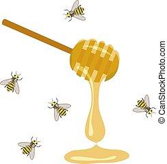 miel, cuillère, abeille