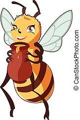 miel, dessin animé, abeille