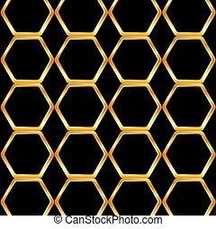 miel, doré, cellule, fond