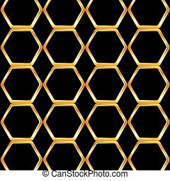 miel, dorado, célula, plano de fondo