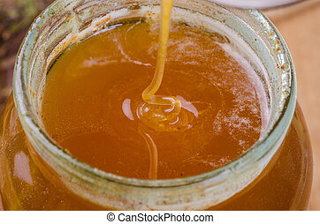 miel, doux, pot