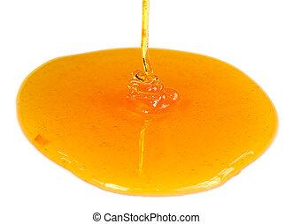 miel, el verter, fondo blanco, corriente