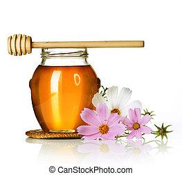 miel, encima, tarro, blanco