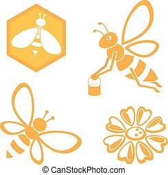 miel, ensemble, abeille
