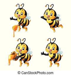 miel, ensemble, collections, dessin animé, abeille